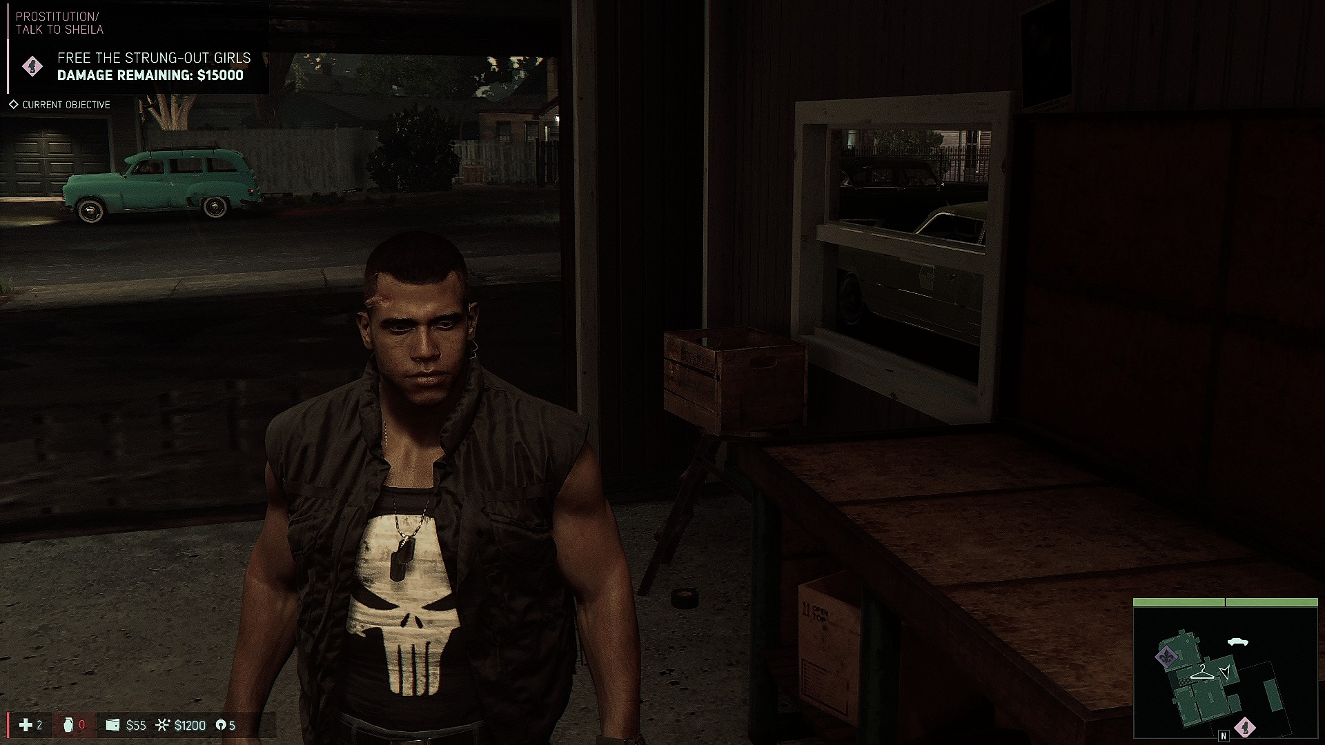 Black Flak Vest with Punisher Tanktop