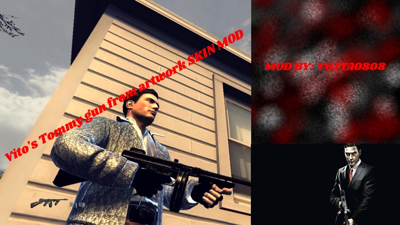 Mafia 2 Vito's Tommy gun from artwork SKIN MOD