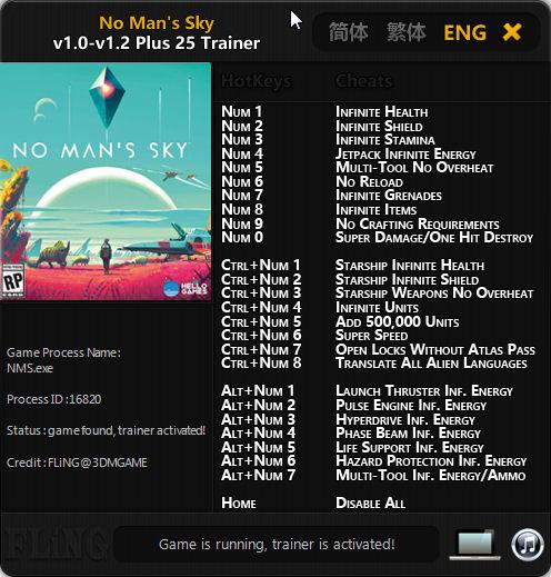 Fling No Mans Sky Plus 25 Trainer – Updated for 1.2 Pathfinder