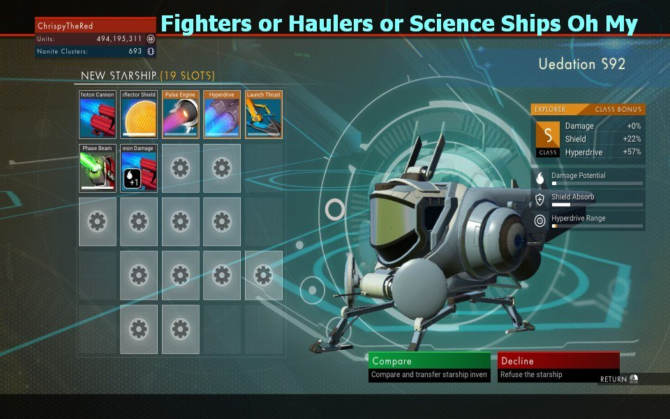 Fighters or Haulers or Science Ships Oh My