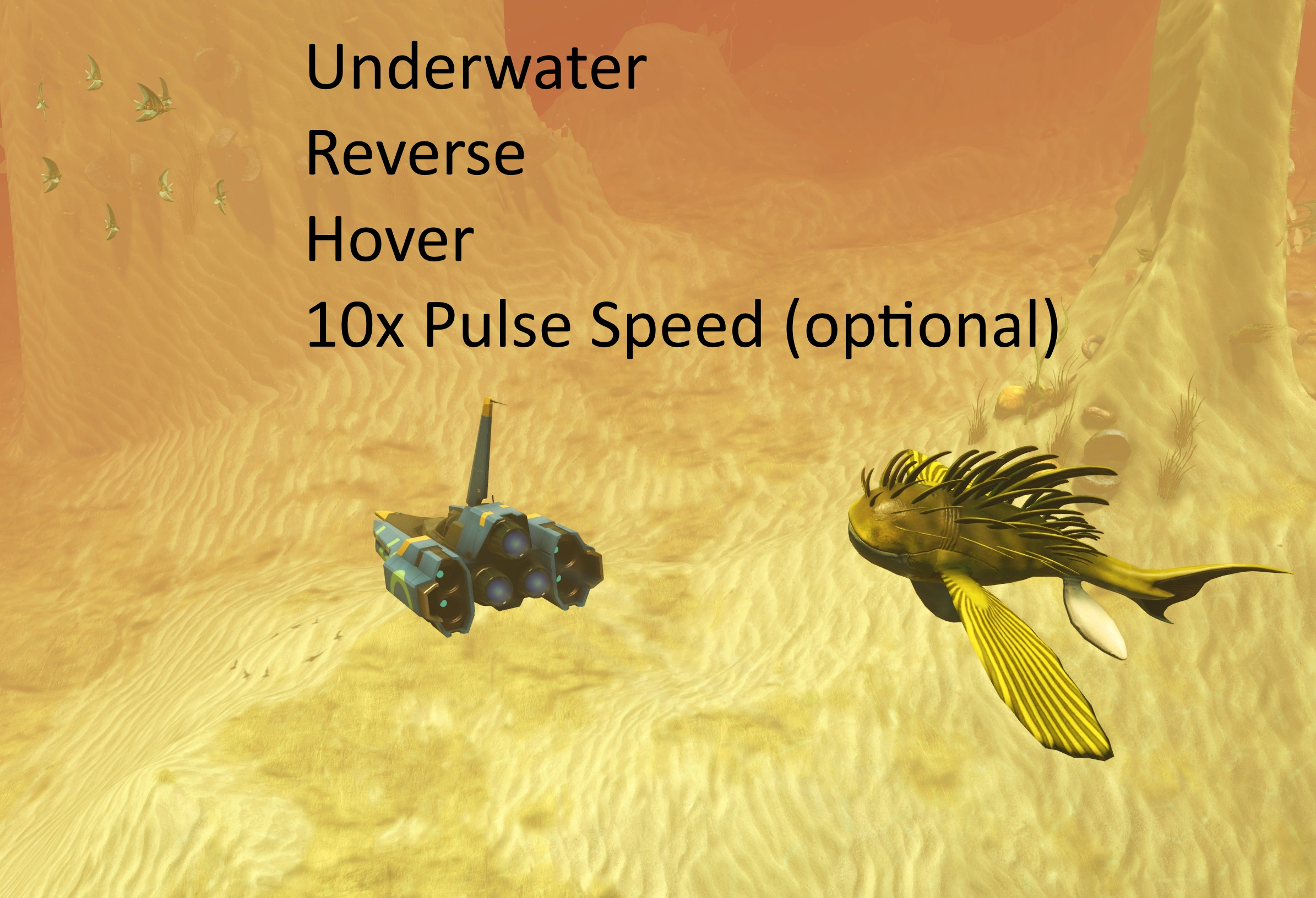 Underwater + Reverse + Hover Flight + 10x Pulse Speed (optional)